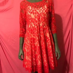 NWOT Free People red lace/nude fit and flare sz 12